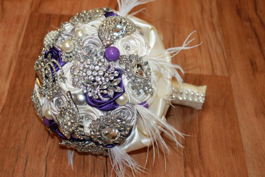 Hochzeit - Purple Pearl Feather Brooch Bouquet, Purple & Silver Wedding Bouquet, Purple Broach Bouquet, Purple Crystal Bouquet, Purple and Ivory