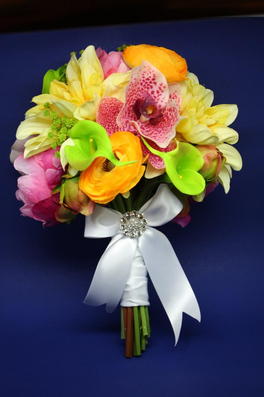 Mariage - Summery silk bridal bouquet