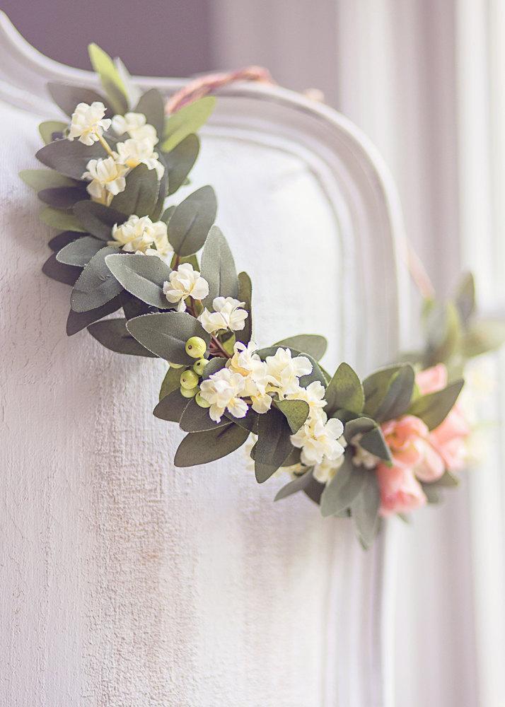"Mariage - Bridal Romantic Boho Pinky Peach & Ivory Flower Half Crown,Wedding Floral Crown, Boho Wedding, Woodland Wedding, Vintage, Wreath, The ""Emma"""