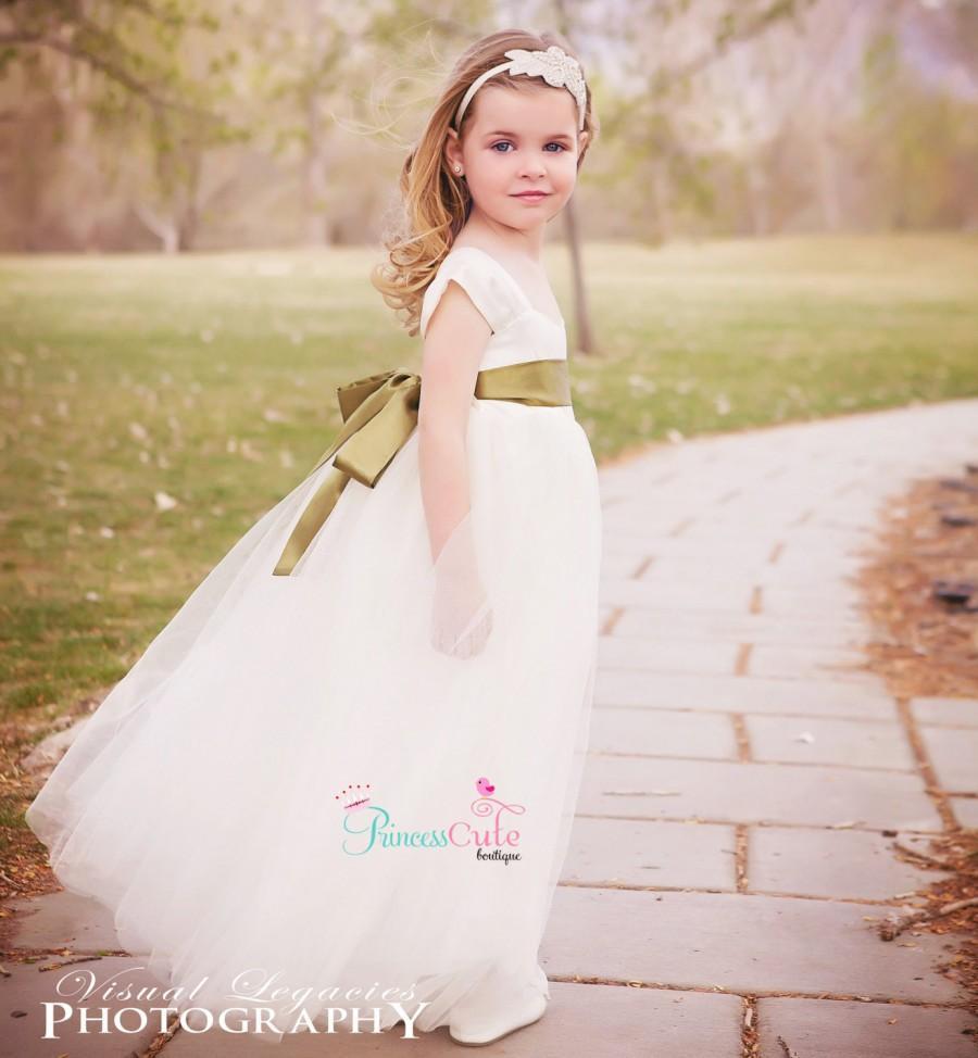 Ivory Flower Girl Dress With Sash, Floor Length Flower Girl Dress ...