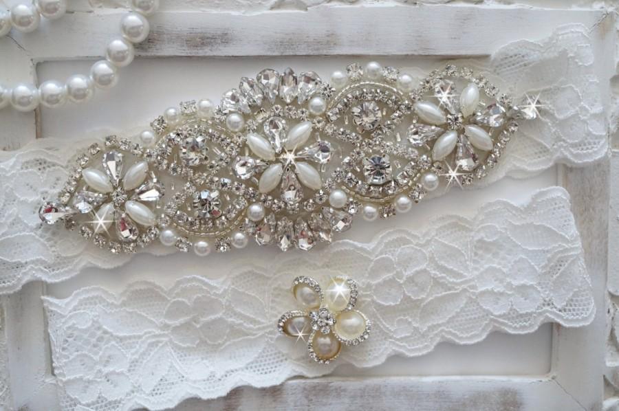 Свадьба - Wedding Garter Set, Bridal Garter Set, Vintage Wedding, Pearl Garter, Something Blue - Style 750