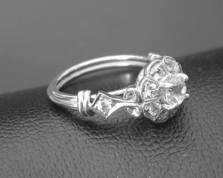 Hochzeit - Gold Ring, pure natural white Ceylon Sapphires handmade Art Deco Engagement ring  P-034