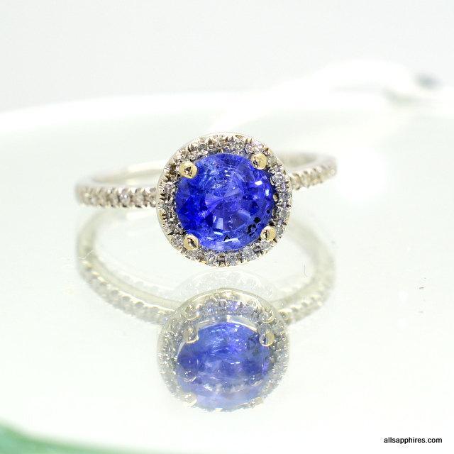 Wedding - CERTIFIED  Ceylon cornflower blue sapphire 1.2 Carat ring diamond ring 14k white gold ring Engagement ring P-094