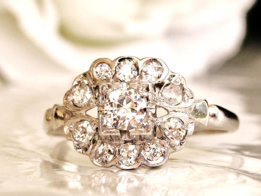 Wedding - Art Deco Heart Motif Engagement Ring VS2/H Quality Transitional Cut Diamond Wedding Ring 14K White Gold Antique Engagement Ring & Appraisal!