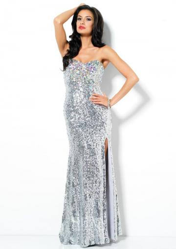 Wedding - Sweetheart Lace Up Satin Split Front Crystals Sequins Silver Floor Length