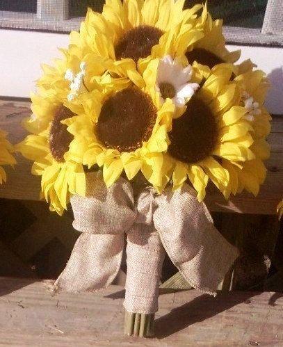 Свадьба - Sunflower Bouquet, Burlap Bouquet, Rustic Wedding, Sunflower Wedding, Yellow Bouquet, Sunflower, Burlap, Rustic, Bridal Bouquet