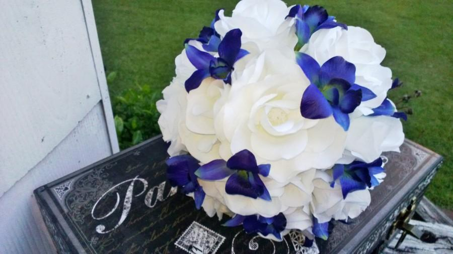 Mariage - Blue Orchid White Rose Bridal Bouquet Wedding Bouquet, Blue Orchid Bouquet, White Blue Bouquet, White Royal Blue Bouquet Sonia Blue Orchid