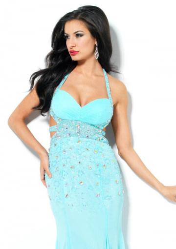 Mariage - Crystals Beading Open Back Ruched Mint Salmon Sleeveless Halter Floor Length Chiffon
