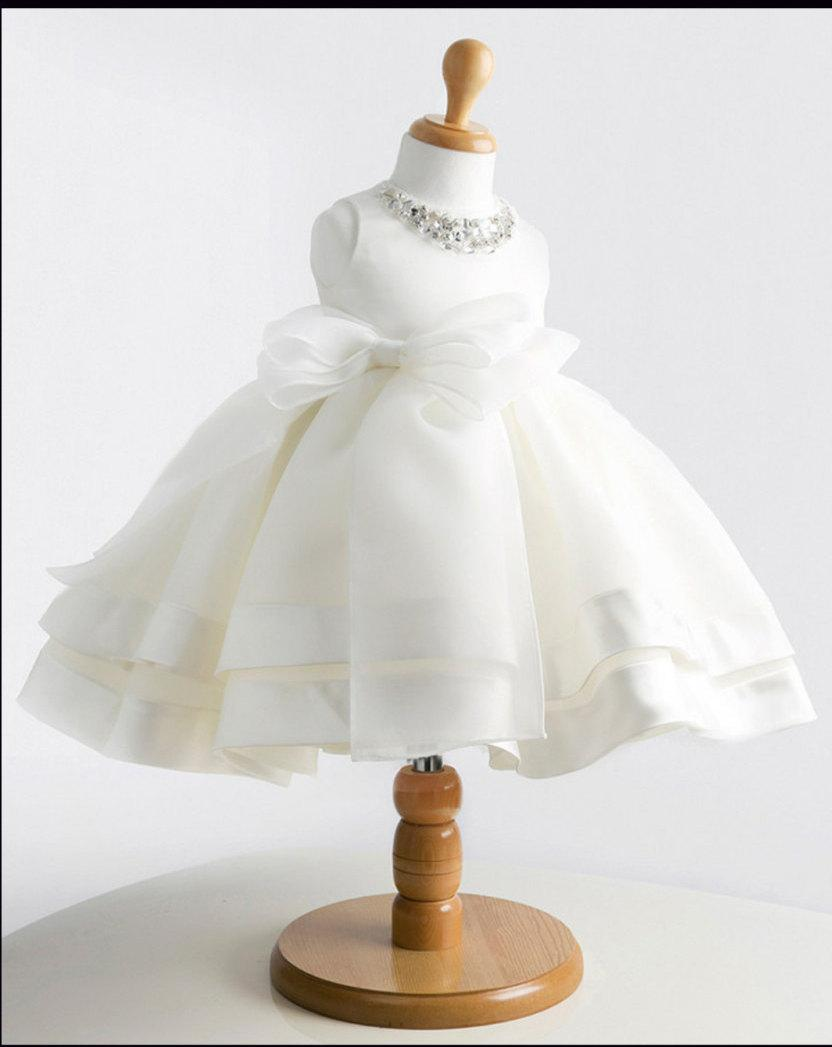 Свадьба - Beautiful Flower Girl Dress Princess Gown Wedding or Christening/Baptism  White or Ivory Tutu with a Big Bow.