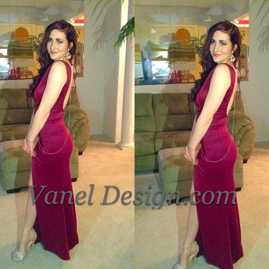 Wedding - Long burgundy bridesmaid dress, cocktail dress, formal dress, elegant dress, prom dress, mermaid dress, peekaboo back, sexy dress, classy dr