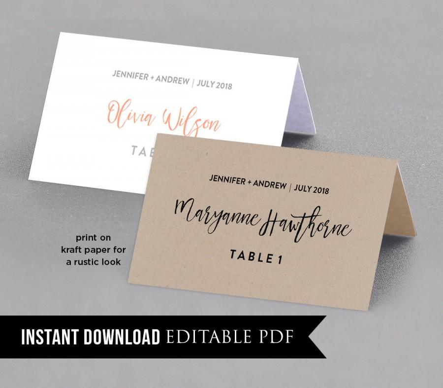 Place card template instant download rustic seating for Design table name cards