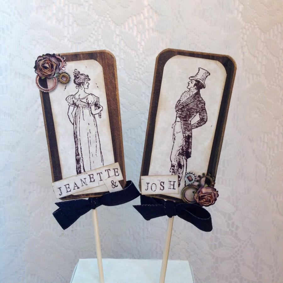 Steampunk Wedding Cake Topper Vintage Custom Rustic Victorian C