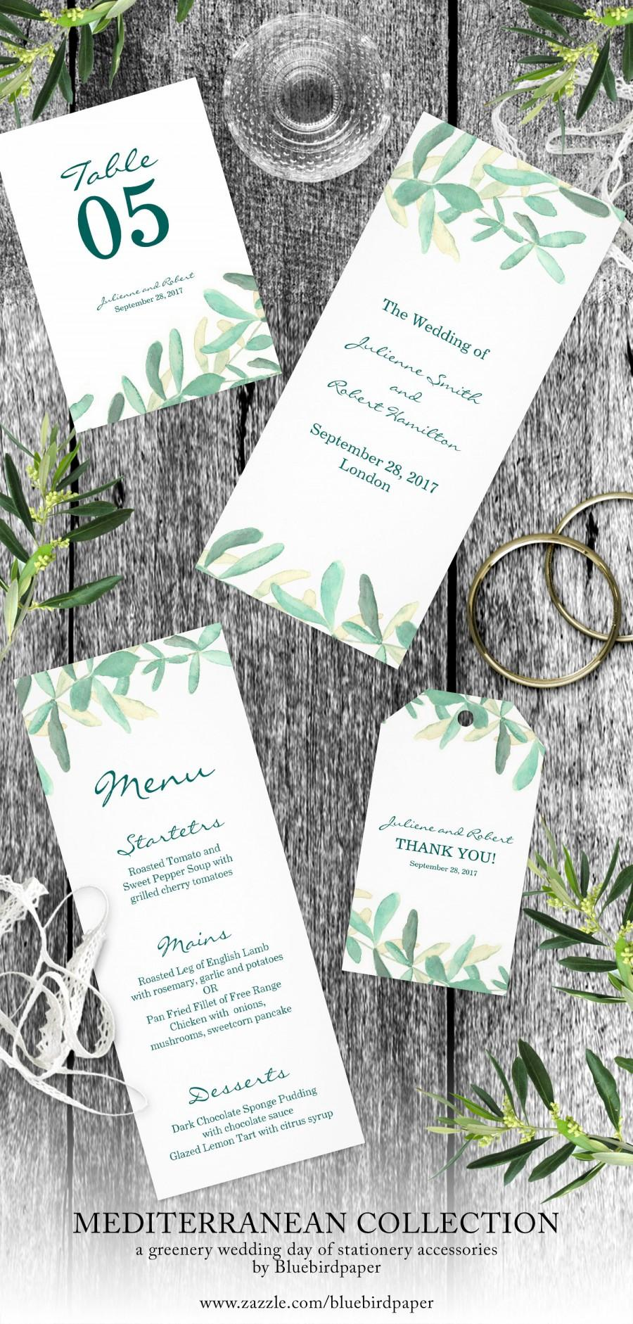 Mariage - Mediterranean, a modern greenery day of stationery accessories