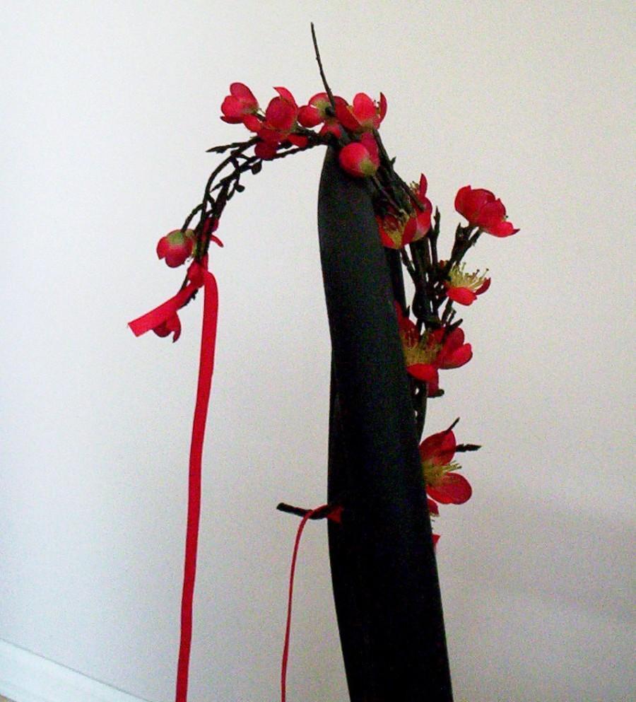 Свадьба - Red Destination Wedding Flower crown Festive Holiday Bridal hair wreath accessories - Sakura Blossoms -  headpiece hair garland Eastern