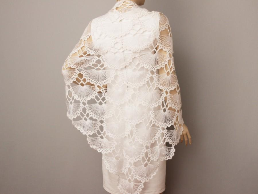 Knitted Wedding Gifts: Bridesmaid Gift In White ,crochet Shawl Scarf Wedding Gift