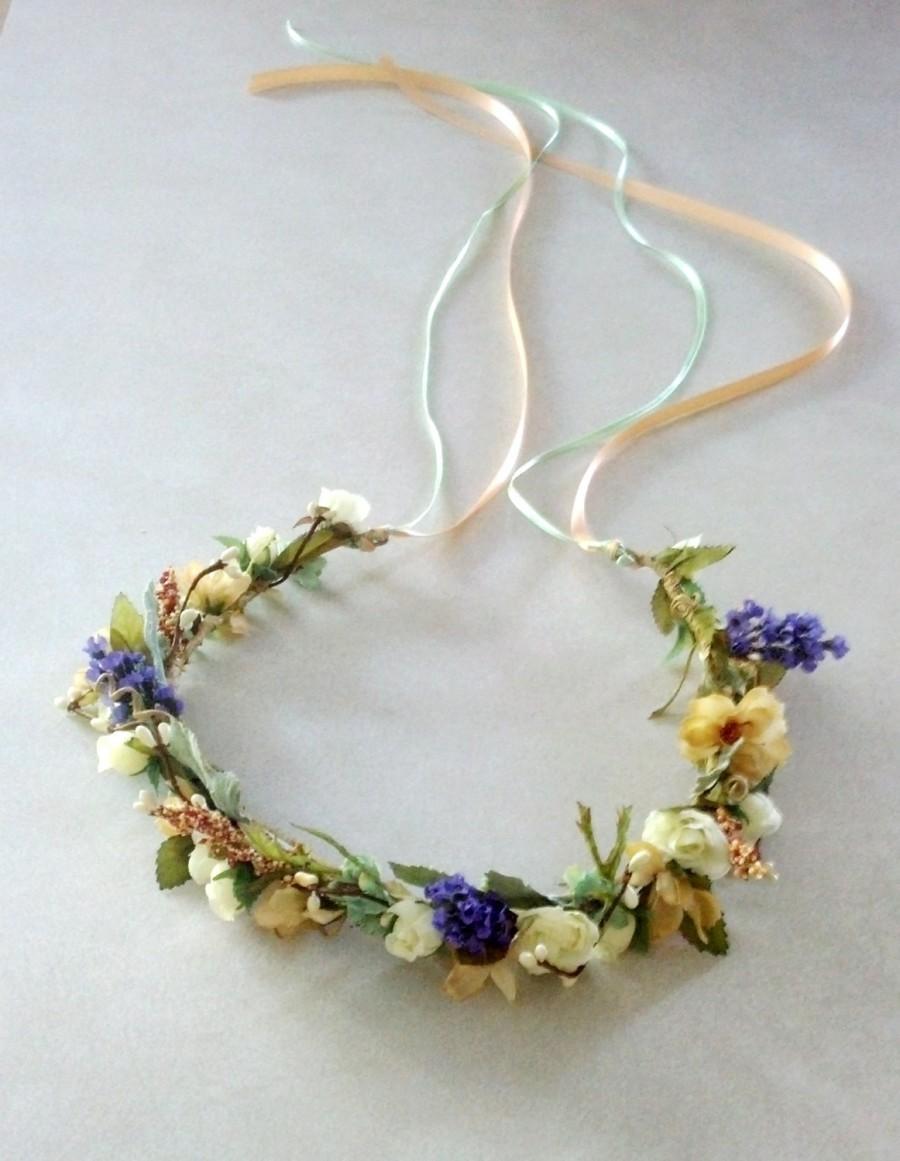 Mariage - Floral crown Headpiece Wedding Halo Bridal Mint green peach lavender Dried Flower spring hair wreath champagne Accessories Aussie Bride