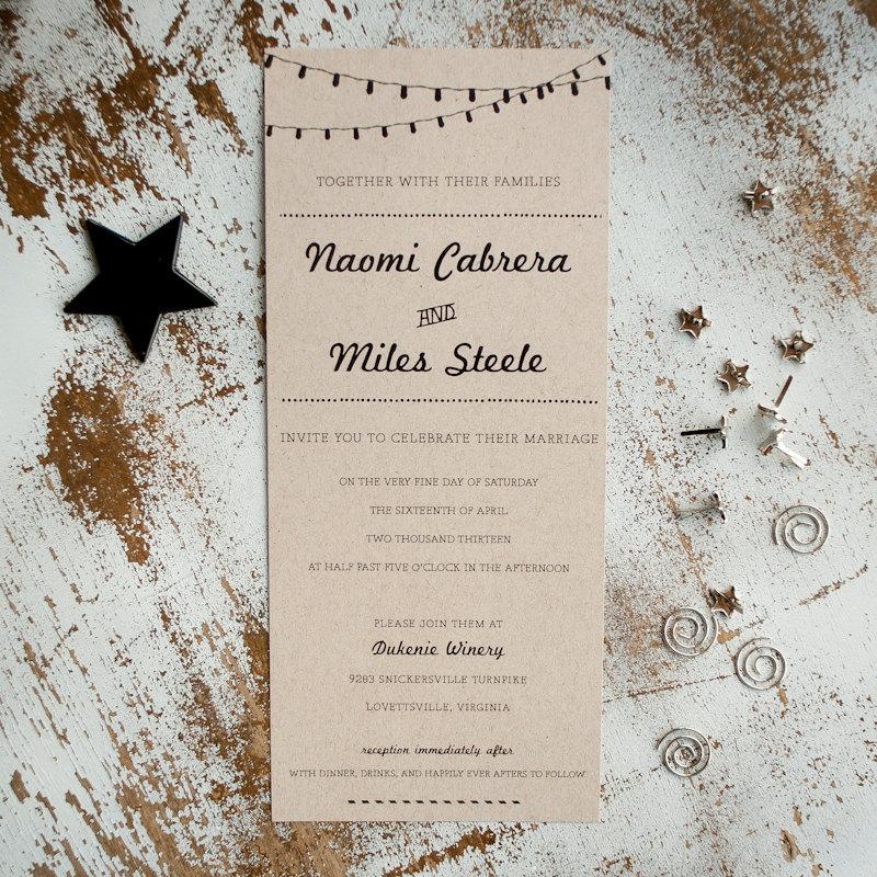 Свадьба - Kraft Wedding Invitation, Wedding Invitation, Rustic Wedding Invitation, Wedding Invites, rustic kraft with lights, unique - The Retro Kraft