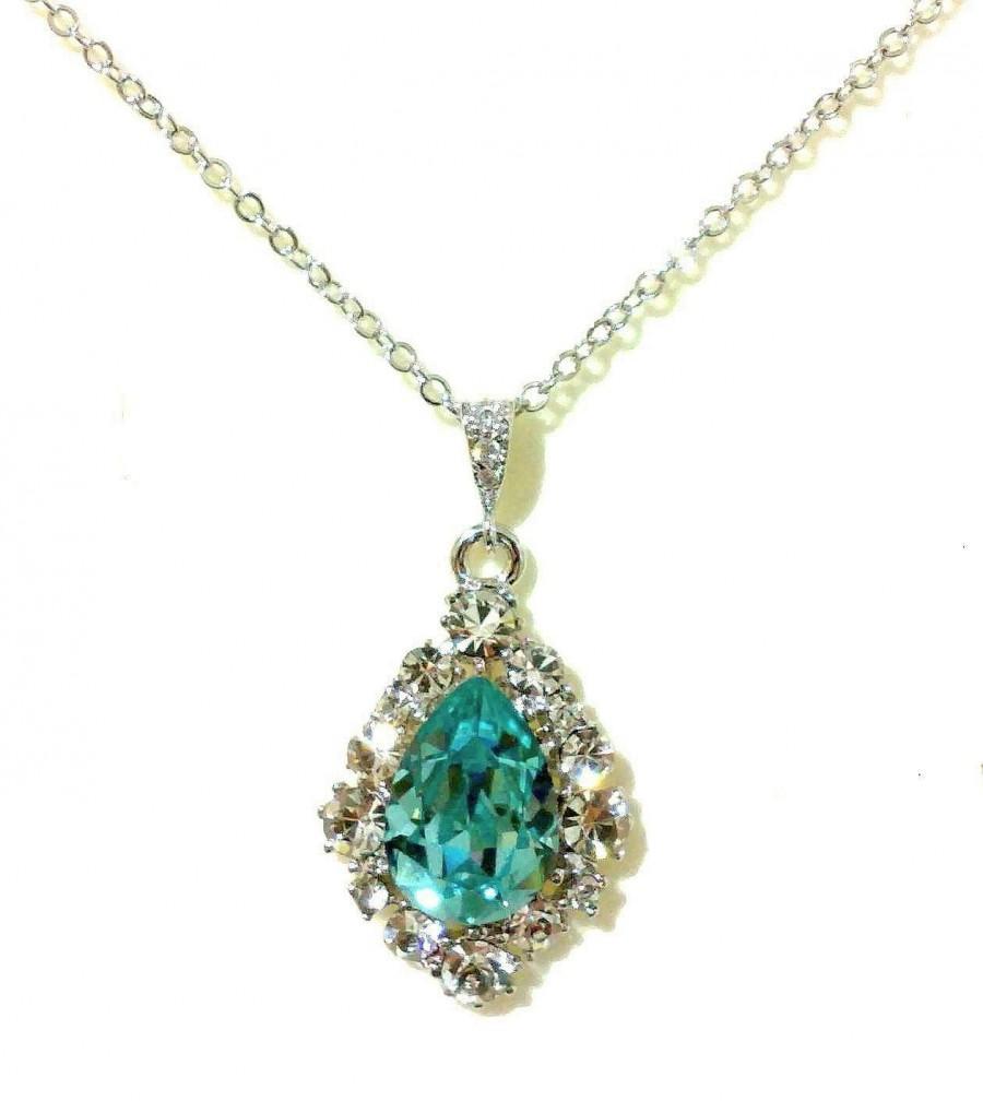 زفاف - Something Blue Turquoise Necklace, Swarovski Teardrop Jewelry, December Birthstone, BIJOUX