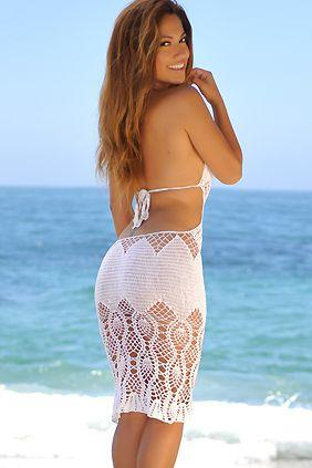 Свадьба - White Open Back Crochet Dress