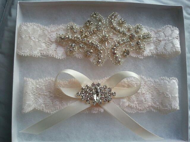 Hochzeit - SALE - Shop Best Seller - Bridal Garter Set - Crystal Rhinestone on a IVORY Lace - Style G20470