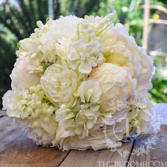 Bridal Bouquet Handmade White Blush Peony Peony Buds Stock