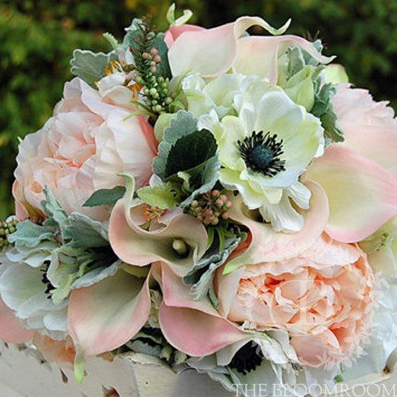 Свадьба - Bridal Bouquet, handmade, peach, pink, cream, anemone, calla lily, apple blossom, peony, wild berries, lisianthus, dusty miller, 'Savanna'