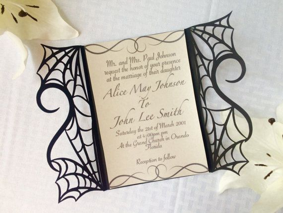 Gothic Spider Web Halloween Wedding Invitation Gatefold DIY Kit ...