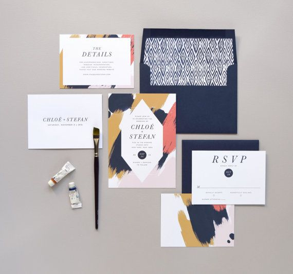 Hochzeit - Chloé Wedding Invitation & Correspondence Set / Paint Strokes And Contemprorary Accents / Sample Set