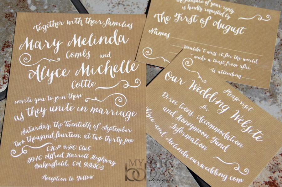 Trendy Typography Wedding Invitation Suite With Kraft Paper