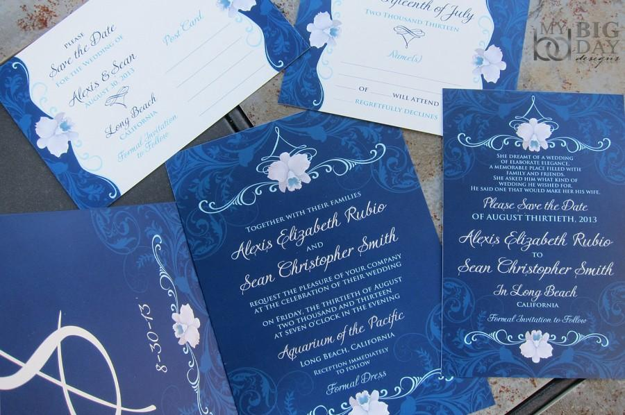 Elegant Orchid Wedding Invitation Suite. Navy Blue Wedding ...