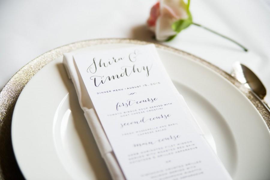 Calligraphy wedding menu card simple elegant