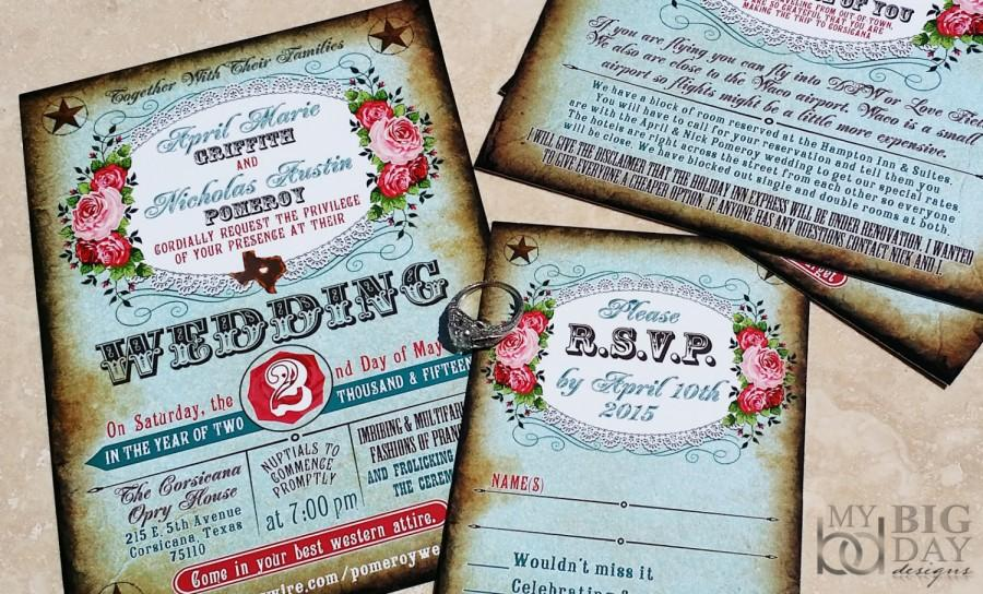 Boots And Bling Western Wedding Invitation Set Western Couture