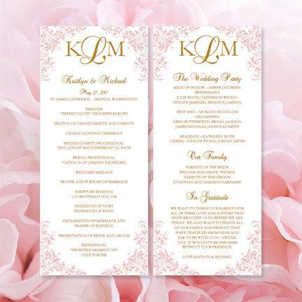 printable kaitlyn wedding program template blush pink gold order