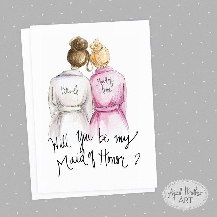Свадьба - Maid of Honor Brunette Bride and Blonde Maid of Honor, Will You Be My Maid of Honor card PDF printable card