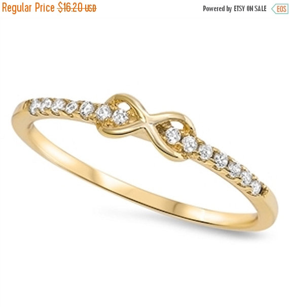 Wedding - Cute Petite Infinity Love Knot Ring 14K Yellow Gold Solid 925 Sterling Silver Round Clear White Sparkling Cubic Zirconia Valentines Gift