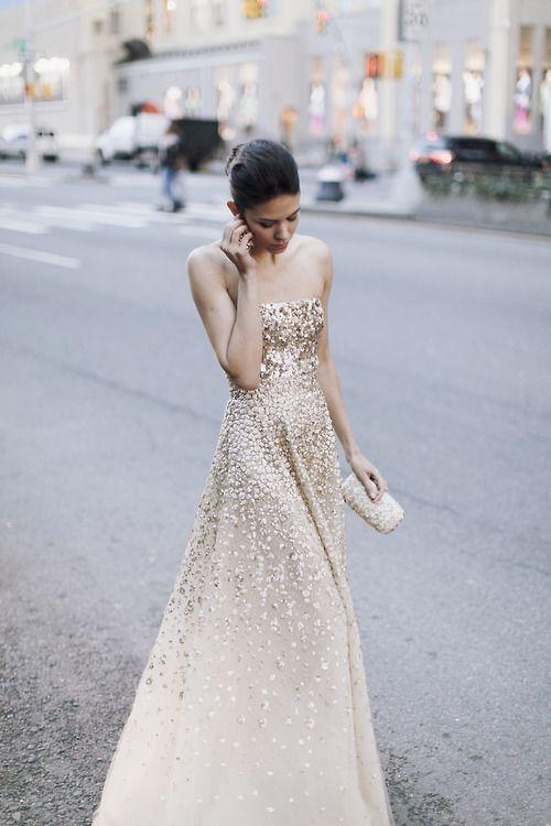 Golden Gown By Oscar De La A