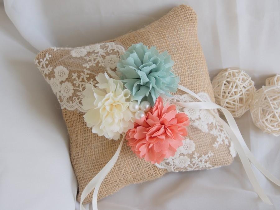 Hochzeit - Rustic Burlap Ring Bearer Pillow - Peach and Mint Wedding Pillow - Lace Pillow