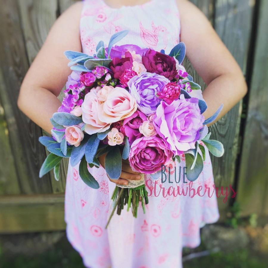 Mariage - Garden Inspired Purple Ranunculus and Lamb's Ear Bridal Bridesmaid Silk Wedding Bouquet