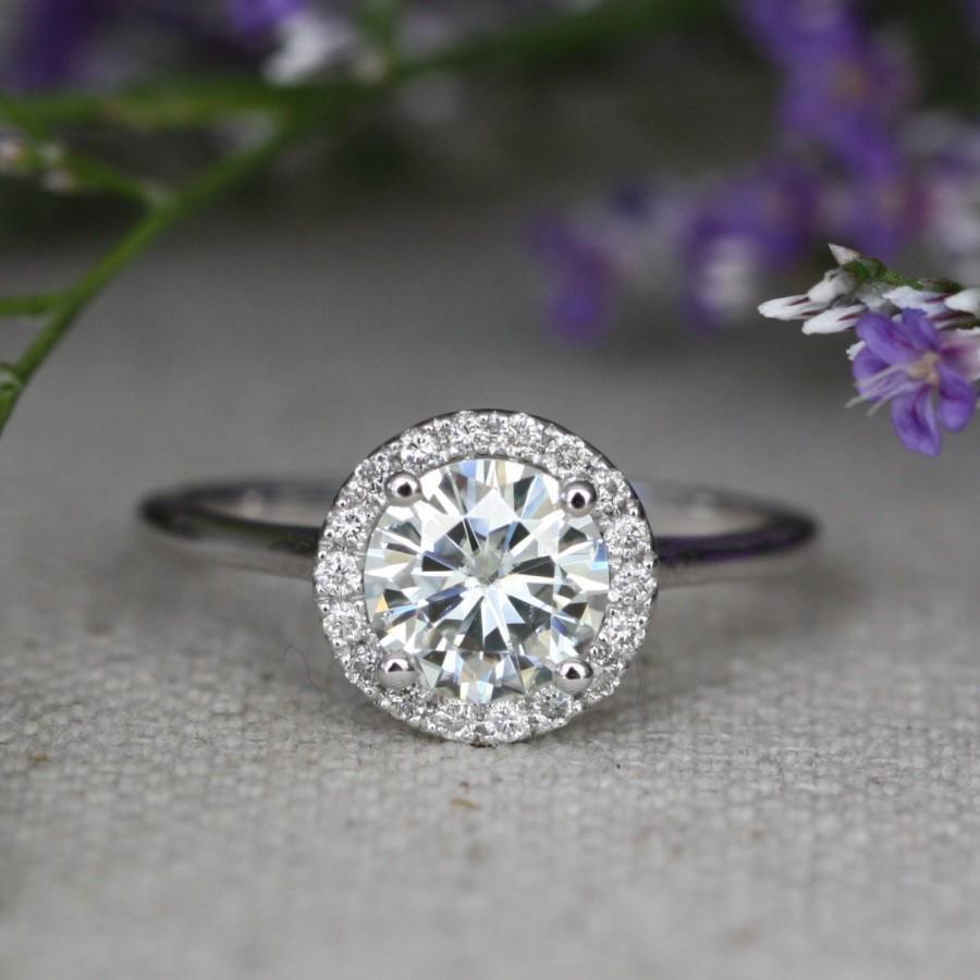 Wedding - Halo Diamond Moissanite Engagement Ring in 14k White Gold Halo Wedding Ring 7x7mm Forever Brilliant Moissanite Solitaire Ring