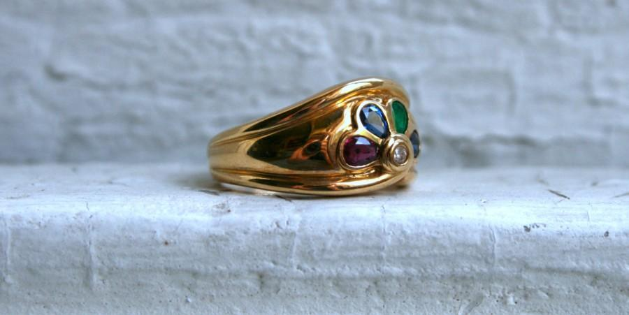 Mariage - Vintage 18K Yellow Gold 'Fan' Ring with Diamond, Ruby, Sapphire, and Emerald.