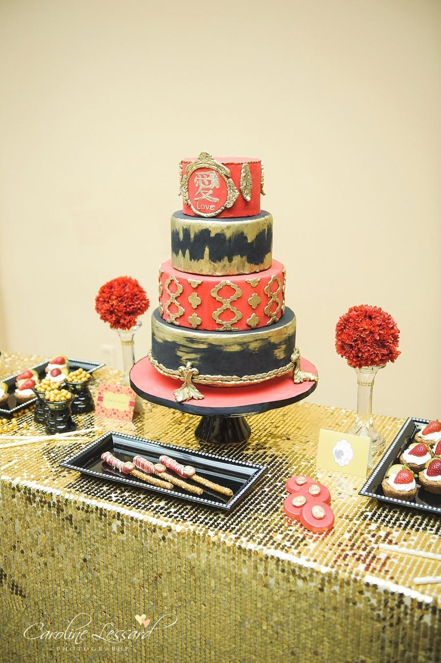 Elegant Red Black And Gold Wedding Cake #2515797 - Weddbook