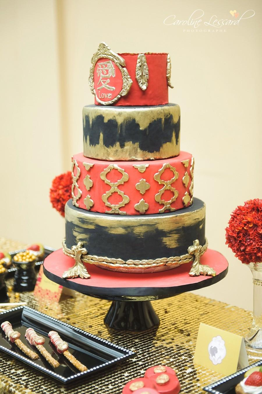 Wedding - Red black and gold wedding cake