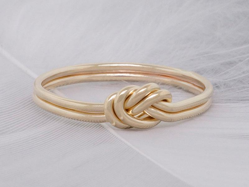 Double Strand Nautical Knot Engagement Ring 14k Solid Gold Love