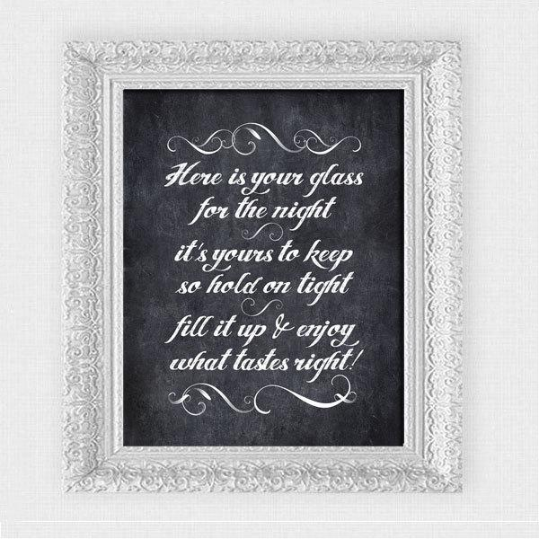 Свадьба - here is your glass for the night chalkboard sign - printable file - drinks reception wedding signage instant download downloadable favor diy