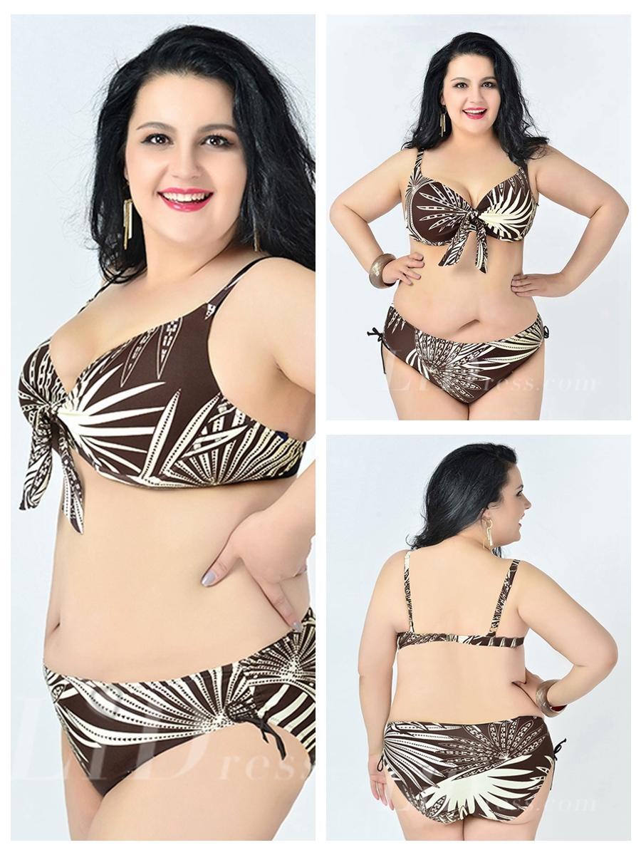 Wedding - Brown Leaf Printed Sexy Halter One-Piece Plus Size Bikini Lidyy1605241084