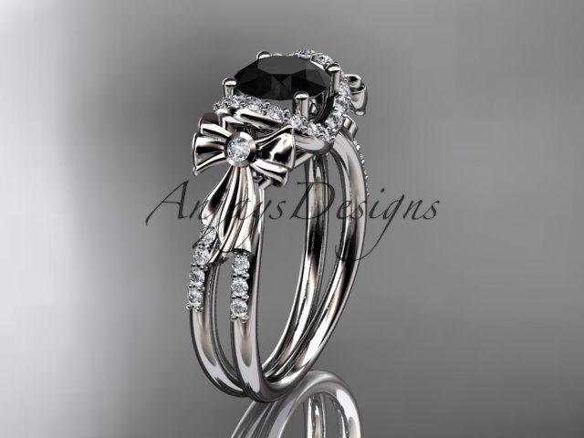Wedding - platinum diamond unique engagement ring, bow ring, wedding ring with a Black Diamond center stone ADER155