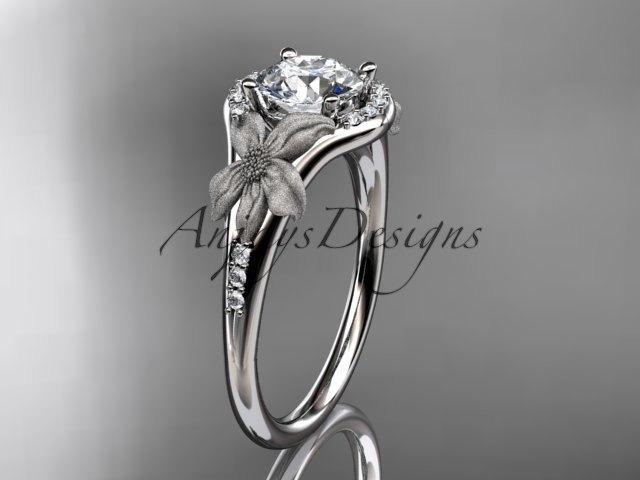 زفاف - platinum diamond leaf and vine wedding ring, engagement ring ADLR91