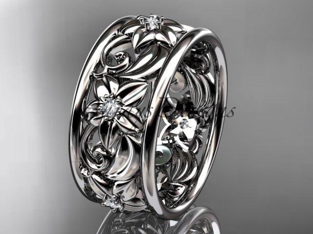 Свадьба - platinum diamond leaf and vine wedding ring,engagement ring,wedding band ADLR150 nature inspired jewelry