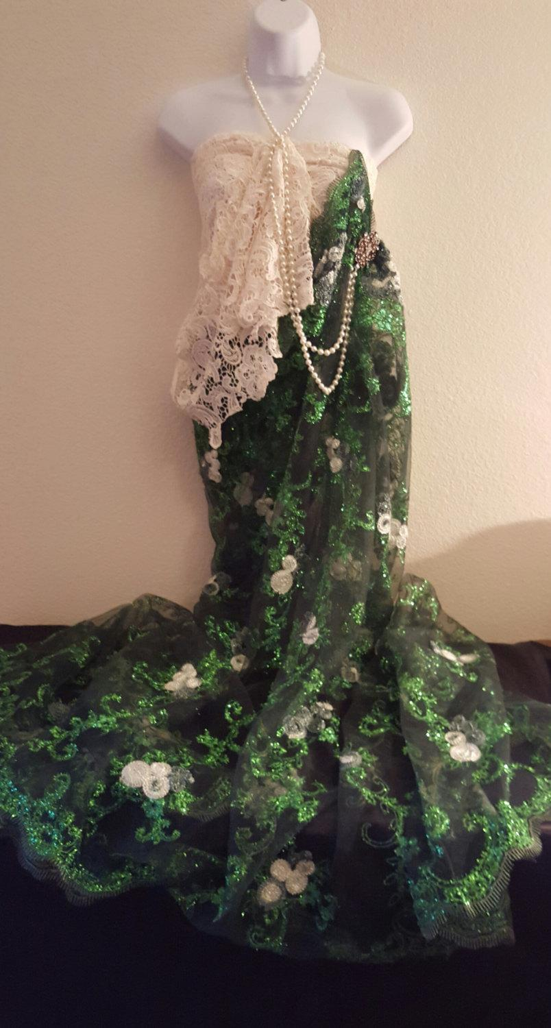 Mariage - Sample Gown/20's Inspired Exotic Indian Green And Ivory Embroidered Lace Strapless  Sari / Saree Dress Bridal Wedding Gown Set Party Costume