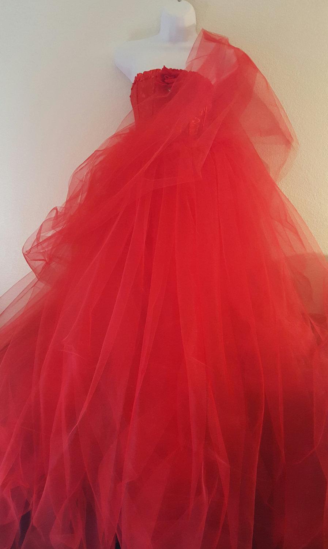 زفاف - Sample Gown Listing / Exotic Indian Inspired Red Corset Tulle Sari / Saree Ball Gown Dress Bridal Wedding Gown Party Costume